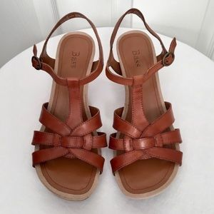BASS Sparta Brown Leather Wedge Sandals Size 7M